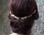 Wedding Headpiece- Gold wreath - Bridal hair accessory -Gold leaf Halo-  gold hair vine - 1920s wedding headpiece - 1930s wedding dress