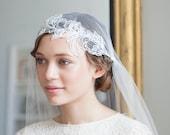 Juliet Cap Veil with Beaded lace in Light Ivory, cathedral length veil, chapel length veil, 130s veil, Flapper veil, UK