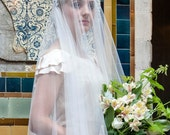 1920s Wedding Veil with blusher ,vintage style cap veil. Art Deco veil, juliet cap Kate Moss Veil, UK