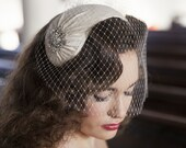 1950s style veil and headpiece - half hat and birdcage veil -1940s headpiece & veil - white, ivory, champagne, blush, pink, black