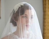 Wedding veil and Art Deco Headpiece.  1930s Veil and Juliet cap veil, 1940s Headpiece, 1950s Headpiece, Agnes Hart UK