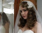 Silk Wedding veil and Art Deco Headpiece. Silver Screen Goddess, 1930s Veil, Juliet cap veil, 1940s Headpiece,1950s Headpiece