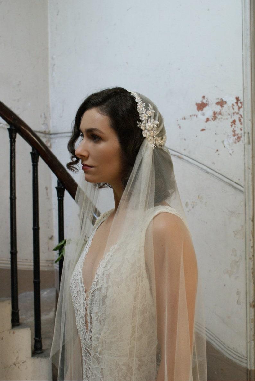 3e774c3299777 Luxury Beaded Juliet Cap Wedding Veil Kate moss style veil