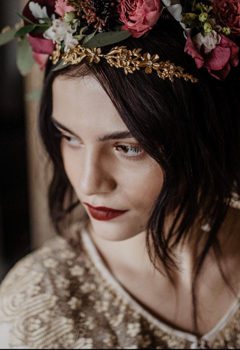 d6f67020149a6 Gold Bridal Crown with Boho Bridal Headpiece Bridal Hair