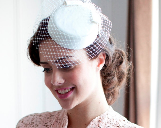 Ivory Pillbox Hat with birdcage veil. 1950s,1960s Style in White, ivory, cream, Champagne, pink or black