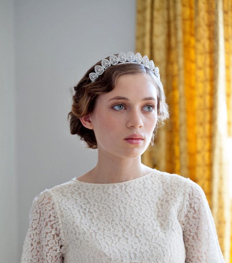 015db6396d15c 1930s wedding headpiece Antique style Tiara Silver crystal