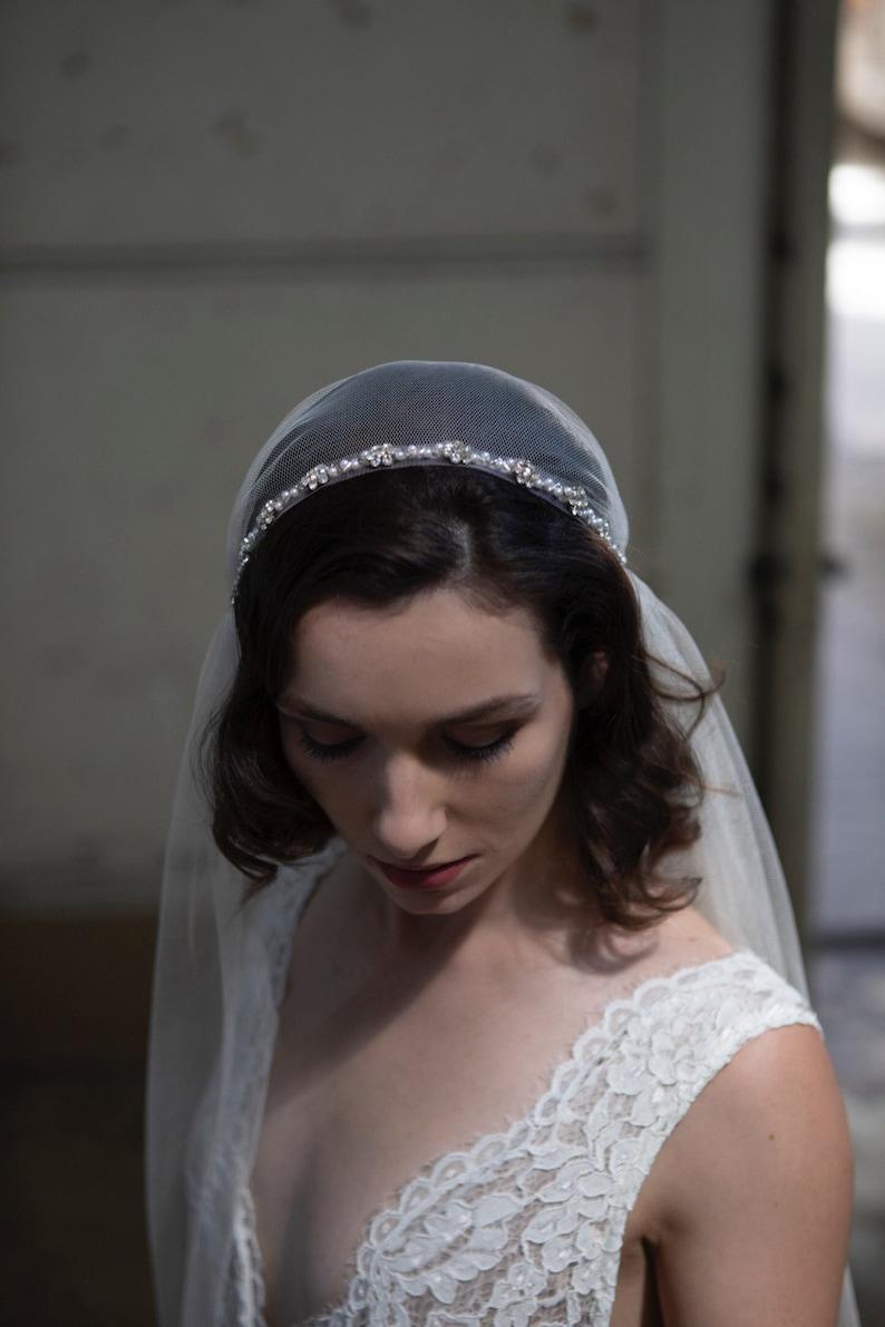 1c2575da79433 Juliet Cap wedding veil with Pearl trim. 1920s veil Vintage