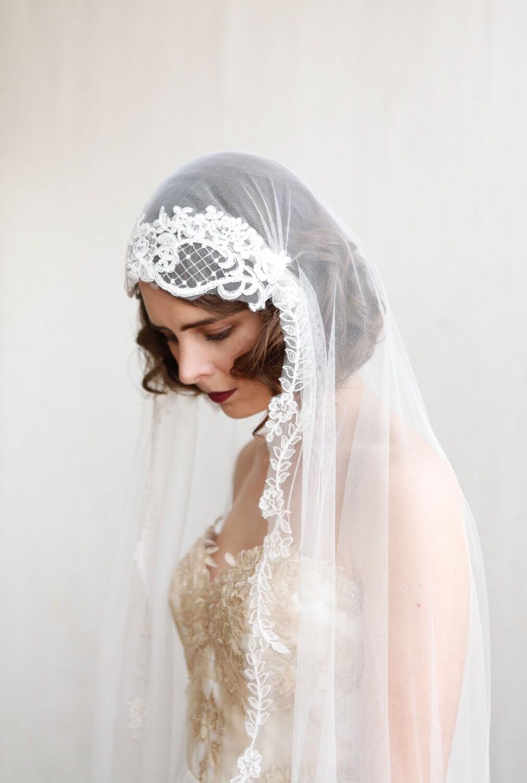 1920s Wedding Veil Ivory Chapel Length Veil Art Deco Etsy