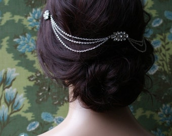 Hair Chain Headpiece - Art Deco Headpiece -Bridal hair jewellery - 1920s Bridal headpiece - Downton Abbey headpiece -1920s wedding dress