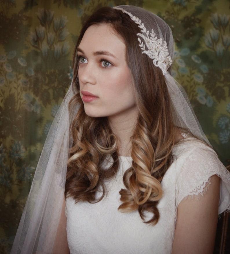 4ce64e4eb8e20 Beautiful Juliet Cap Wedding Veil ivory veil chapel length