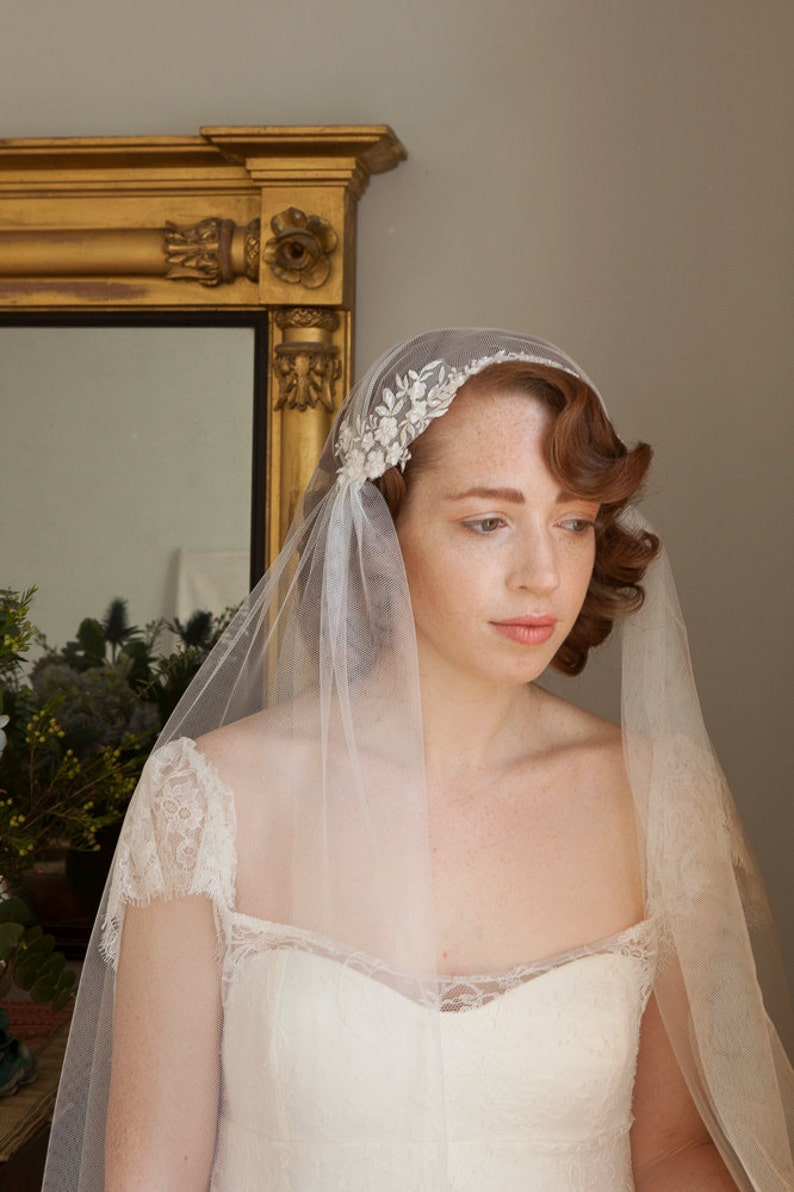 8674f84a94024 Stunning Juliet Cap Veil with Beaded lace Ivory or champagne