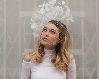 Ivory Feather Headpiece and veil - Bridal headdress with birdcage veil - Statement feather headpiece - ivory or black feather headpiece