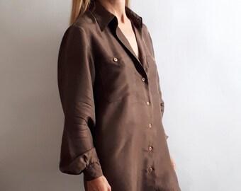c4fe2eda25b557 Vintage Brown Blouse // Vintage Blouse Dress / Vintage Silk Blouse /  Vintage Autumn Style / Vintage Gift Idea / Vintage Gift for Her / 1990