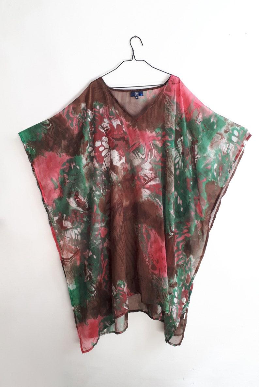 Vintage Watercolor Sundress  Vintage Watercolor Beach Dress  Vintage Watercolor Tunic  Vintage Watercolor Kaftan  Gift for Mum 1990