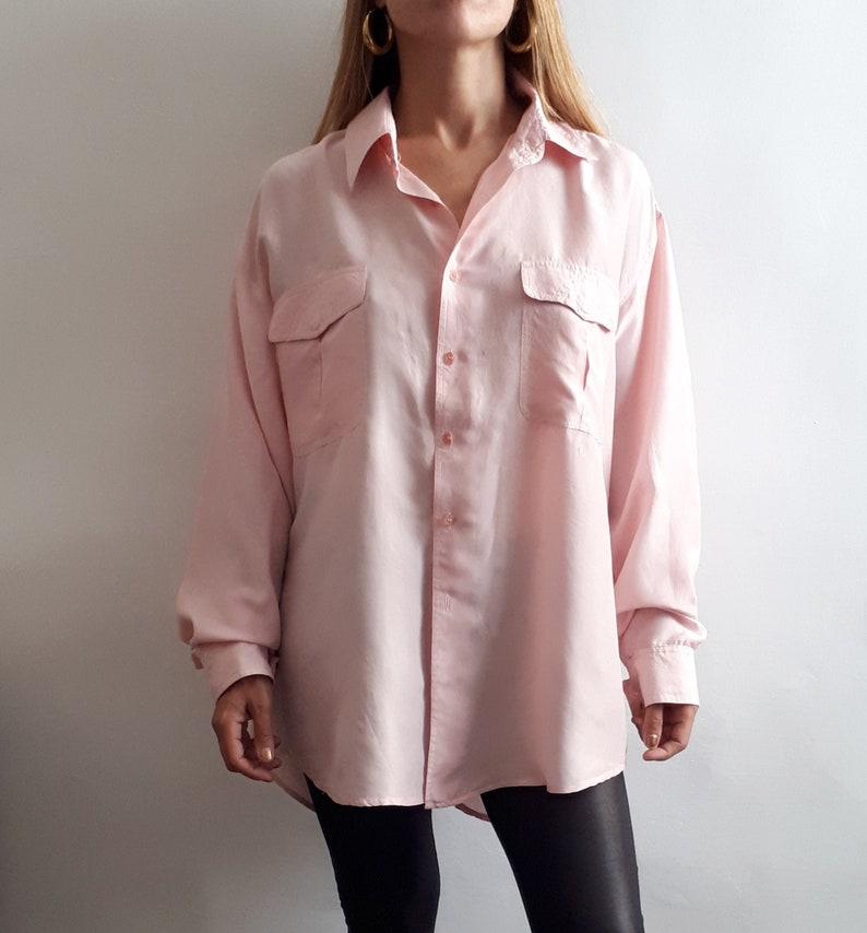Vintage Pink Blouse  Vintage Blouse Dress  Vintage Silk Blouse  Vintage Summer Style  Vintage Gift Idea  Vintage Gift for Her  1990