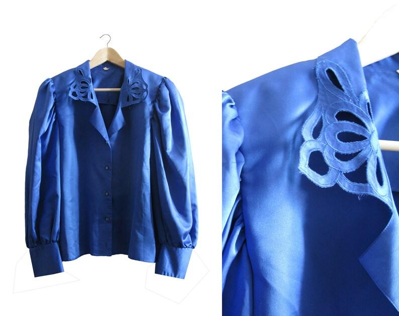Vintage Blue Blouse  Vintage Electric Blue Blouse  Vintage Satin Blouse  Vintage Austrian Blouse  Vintage Garment  Gift for Her  1970