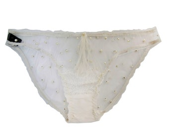 985898b96bcf8 VIVIAN Ivory Pearl Tulle lace Thong Bridal Lingerie thong