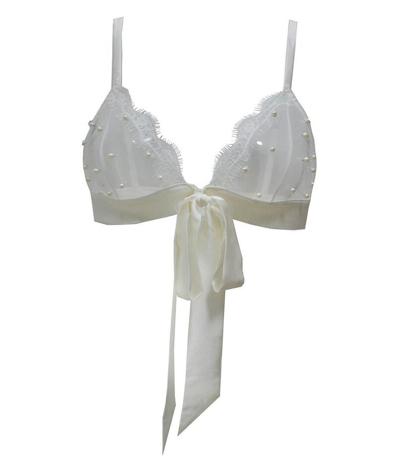 5d1559835 VIVIAN Ivory Silk satin   pearls Triangle Bra Bridal silk