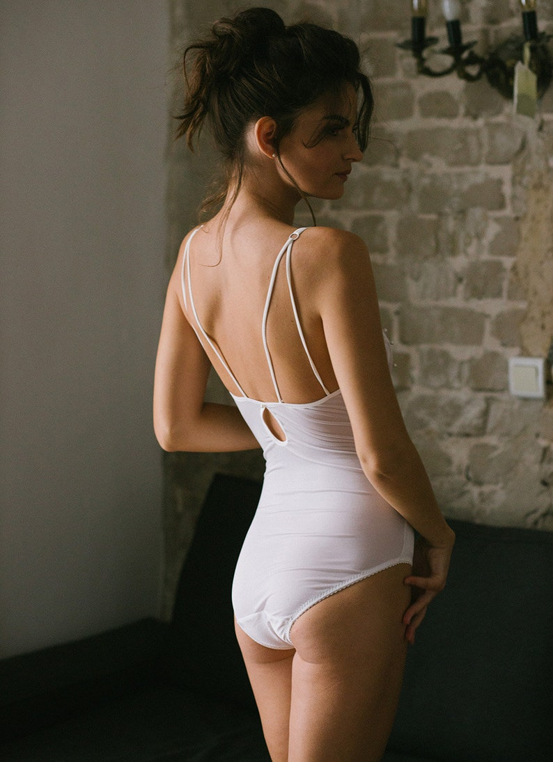 a1275a400c219 VIVIAN Ivory Silk and Pearl tulle bodysuit bridal lingerie