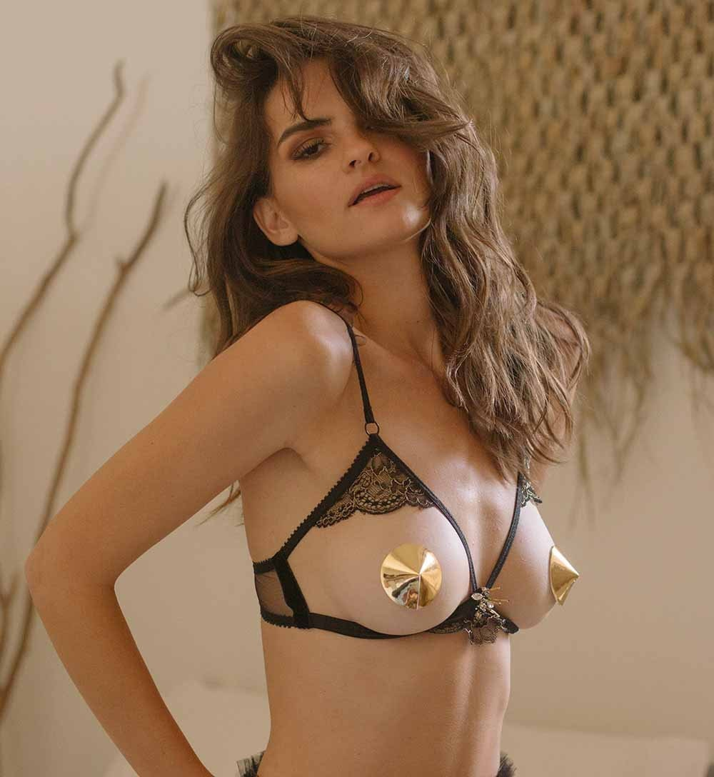 Abeille Black satin and gold lace peek a Boo bra sexy open  03af37303