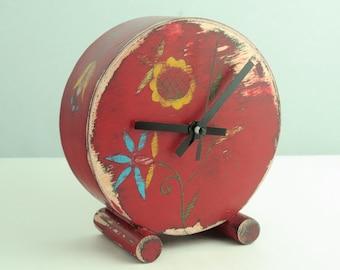 No ticking Red Desk Clock, Folk art Clock, Table Wood clock, Red Circle Clock, Folk flower, Floral ornament, Silent clock