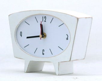 White Wood Desk Clock, Vintage Style 60s Wood Table Clock, Pure white Tabletop clock, Wooden Mantle home decor, Valentines day gift
