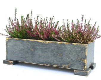 Wooden herb planter, Windowsill Flowerpot, Box for Herbs, Handmade box, Indoor herb Autmn garden,