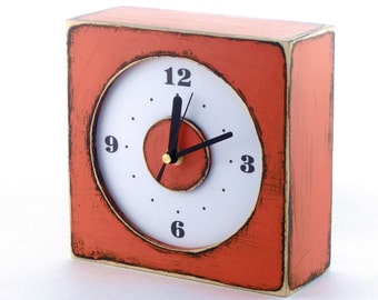 Wall clock orange, Wooden Rusty clock, Wall hanging clock orange, Square Tangerine wall clock, Spring Orange decor, Europe trend