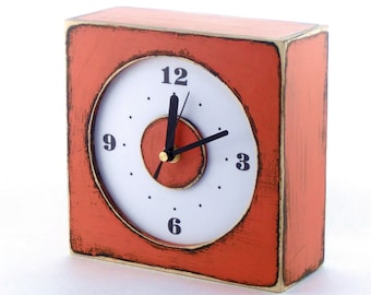 Wall clock orange, Wooden Rusty clock, Wall hanging clock orange, Square Tangerine wall clock, Autumn Pumpkin decor, Xmas gift for all