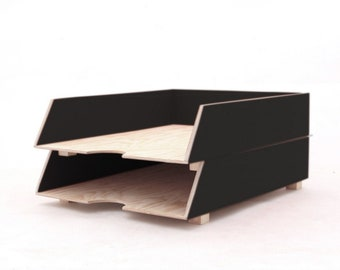 Black Carbon color Paper Tray Holder, Wood Oganizer Mail set, Desk Office Accessories, 2 Stages Mail Tray, Paper Sorter tray stackable