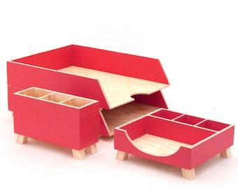 Red Desk Organizer set, Office Desk Accessories, Paper tray, Office Desk Paper and  Pen Holder, Red Wood Desktop set, Gift for him / her