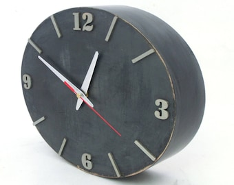 Wood Wall clock Grey Silver, SILENT / NO TICKING Plywood Graphite Silver clock, Ellipse Wall Spring decor, Unique acrylic clock for Mom