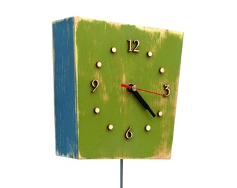 Wall Clock Pendulum Multicolor, Wall hanging clock Green Orange Blue, Unique gift, Distressed wall clock, Back to school