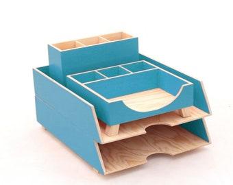 Turquoise Desk Organizer set, Office Desk Accessories, Turquoise Paper tray, Office Desk Paper Pen Holder, Wood Desktop set, For him / her