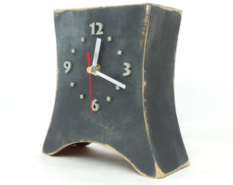 NO TICKING Gray Silver Clock, Desk Clock, Table clock Grey, Wood Distressed clock, Quiet / SILENT handmade clock, Gray desk decor