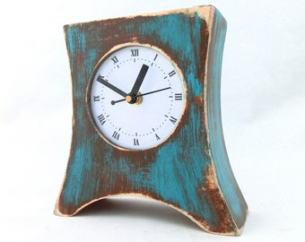 SILENT / QUIET Desk Clock Turquoise Brown, No ticking Table Wood clock Arrow, Blue Green Distressed Mantle clock, Summer Rustic style