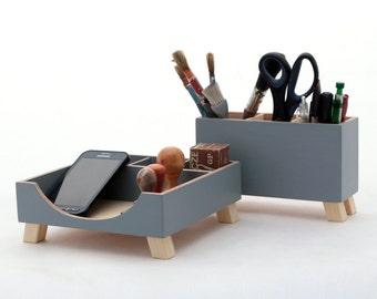 Grey Desk Organizer, Desk Office Accessories, Handmade Desk storage, Wood set for Desk , Desktop Organizer, Pen holder, Gift for boyfriend