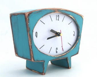NO TICKING Desk Clock Turquoise Wood Table clock, Unique Wooden clock, Cute Handmade Quiet Mantle clock, Blue green clock, Mothers day gift