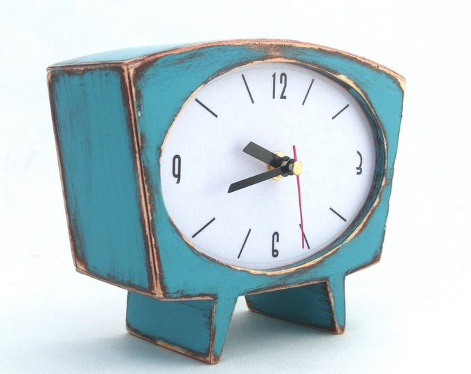 Featured listing image: NO TICKING Desk Clock Turquoise Wood Table clock, Unique Wooden clock, Cute Handmade SILENT Mantle clock, Summer blue green, Europe trend