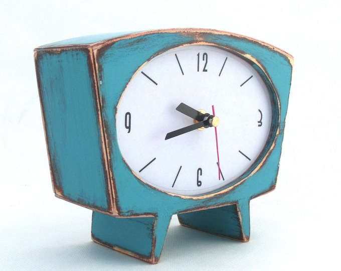 Featured listing image: NO TICKING Desk Clock Turquoise Wood Table clock, Unique Wooden clock, Cute Handmade Quiet Mantle clock, Blue green clock, Mothers day gift