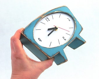 Desk Clock Turquoise Quiet Movement Option, Handmade Eco Friendly Wood Blue Green Table clock for All, Office Desk Decor Clock