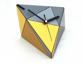 NO TICKING Desk Clock, Wood clock, Unique gift, Quiet / Silent Table clock, Geometric Triangle Yellow Grey, Mothers day gift, Desk office