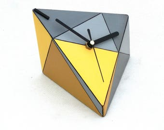 NO TICKING Desk Clock, Wood clock, Unique gift, Quiet / Silent Table clock, Geometric Triangle Yellow Grey, Birthday gift, Desk office decor