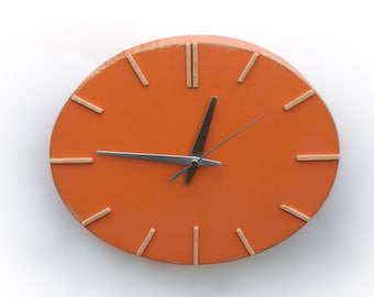 Orange Wood Wall clock, Plywood Ellipse Acrylic Paint clock, Unique wall hanging clock 12 inch width, Mothers day gift, Kitchen wall decor