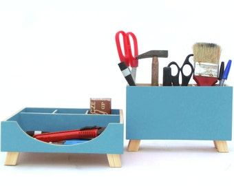 Turquoise Desk Organizer, Desk Accessories, Desktop Blue green set, Wood Desk set, Office Accessories, Turquoise Kids Desk Command Center