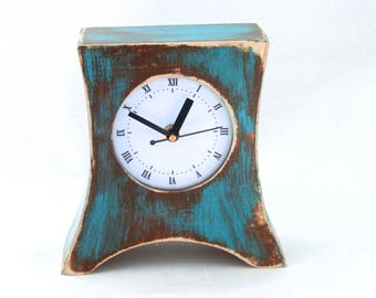 Desk Clock Turquoise Brown, NO TICKING Table Wood clock Arrow, SILENT Blue Green Distressed Mantle clock, Spring decor Rustic style for Mom