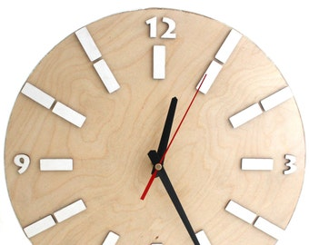 Wood Wall Clock White Natural, Modern wall decor, 14 inches Circle White Wall hanging clock, Office Wall decor, Gift for Xmas, Free shipping