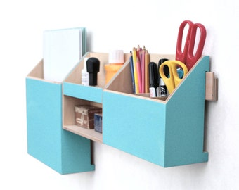 Turquoise Wood wall organizer, Desk accessories, Wall Mail Holder Home Office Set, Blue green Desktop Organizer, Paper sorter, Remote work