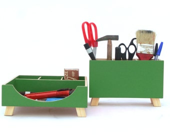 Green Desk Organizer, Desk Accessories for office, Wood Desk Organizer, Green Desktop Set, Desk Pen holder, Command Center, Kids Tidy Desk