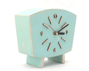 Pastel Mint Table Clock , Wood Desk Clock, Distressed Mantel clock, Shabby chic Summer Mint Green decor, Sixty style clock, Peppermint clock
